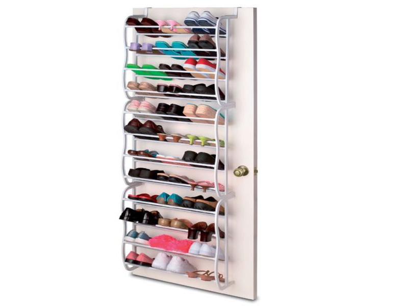 36 pair hanging over the door shoe rack 2 3 4 tier slatted - Rangement chaussures a suspendre ...