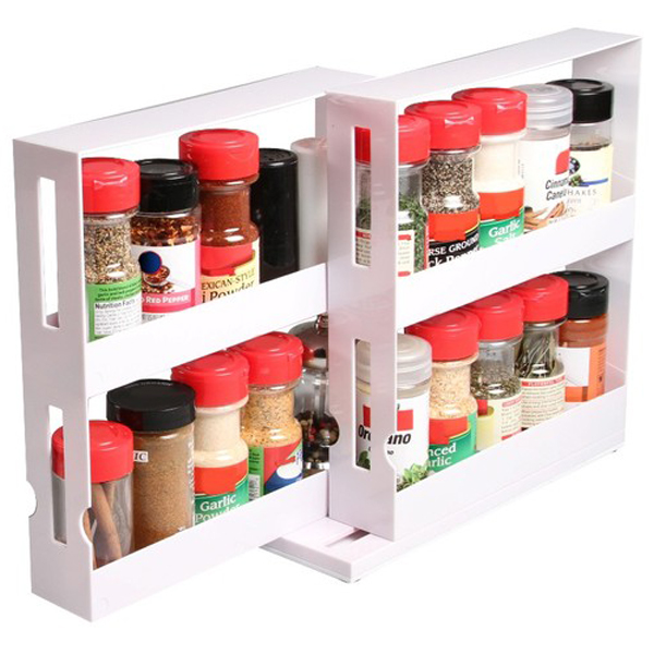 Kitchen Cabinet Spice Rack Organizer: SPICE BOTTLES SWIVEL STORE KITCHEN TIDY HOLDER TRAY SHELF