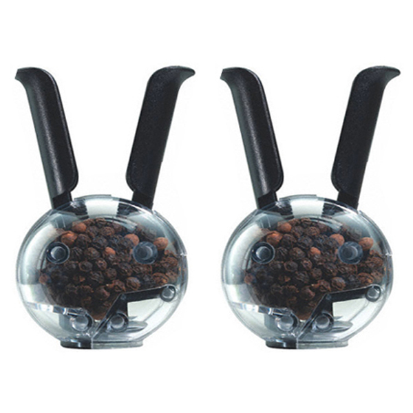 New squeeze set of 2 salt pepper grinder mill kitchen set Funky salt and pepper grinders