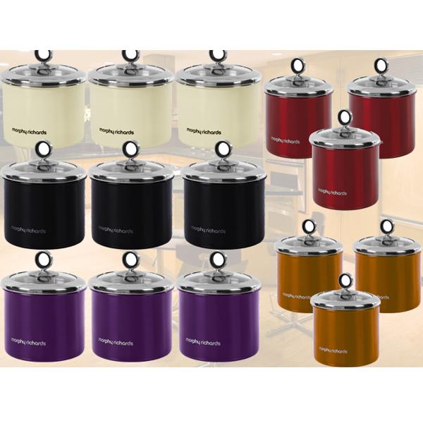Designer Tea Coffee Sugar Storage Jars >> MORPHY RICHARDS 3PC TEA COFFEE SUGAR STORAGE CANISTERS STORAGE JAR POT 5 COLOURS | eBay