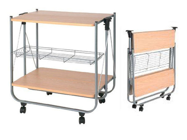 Wooden folding kitchen portable trolley serving storage for Kitchen set portable