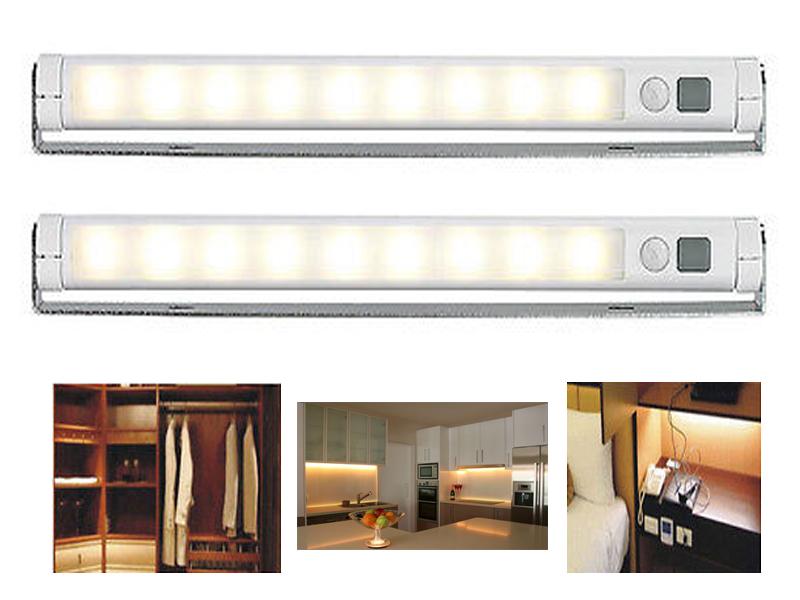 SET OF 2 LAMP LIGHT PIR 9 LED MOTION SENSOR UNDER CABINET