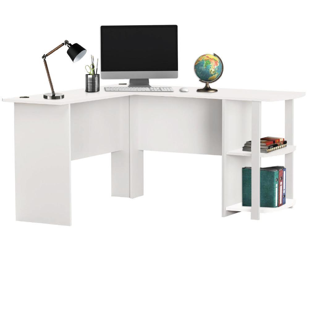 livivo l shape white office computer desk with book. Black Bedroom Furniture Sets. Home Design Ideas