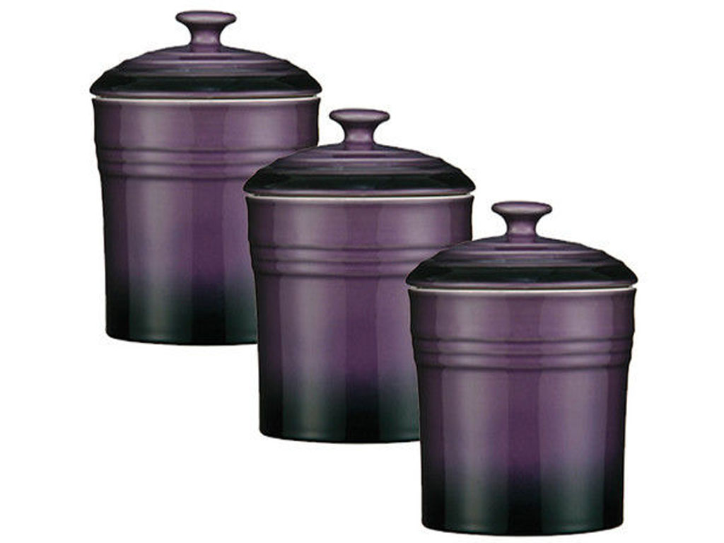 Set of 3 purple storage canisters tea coffee sugar spice jars stoneware ovenlove - Modern tea and coffee canisters ...