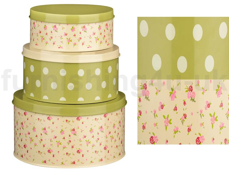 set of 3 rose cottage round cake tins cupcake cookie. Black Bedroom Furniture Sets. Home Design Ideas