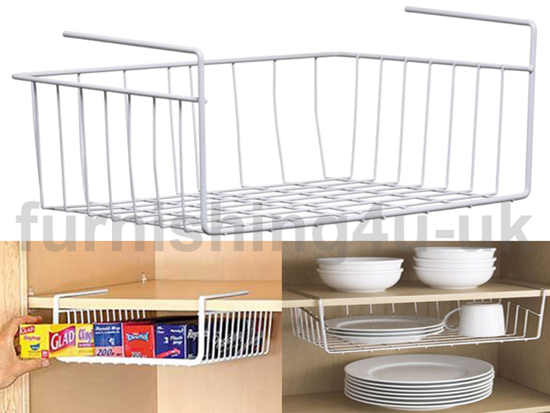 New White Kitchen Under Shelf Storage Basket Rack Holder