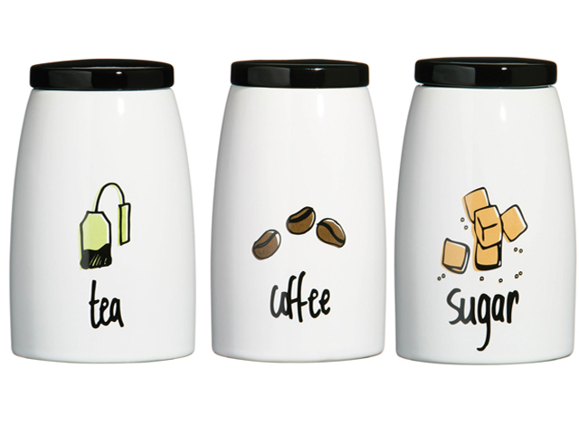 NEW DOODLE RANGE WHITE BLACK STONEWARE TEA COFFEE SUGAR