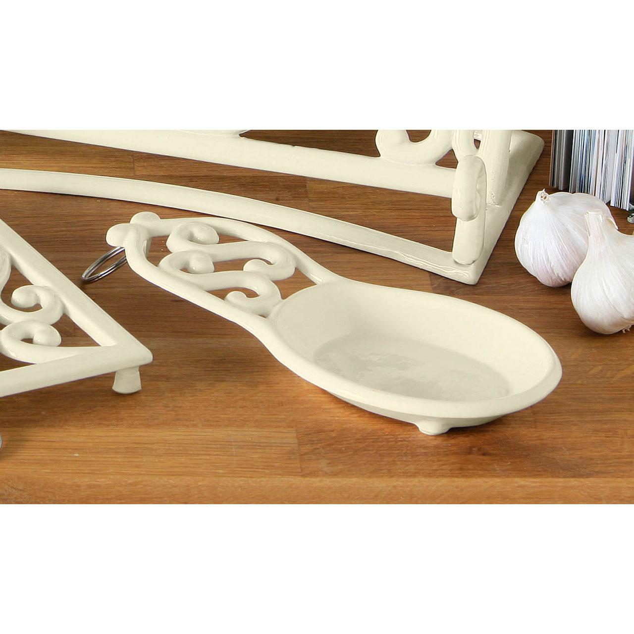 Cream Cast Iron Trivet Mug Tree Kitchen Roll Holder Spoon