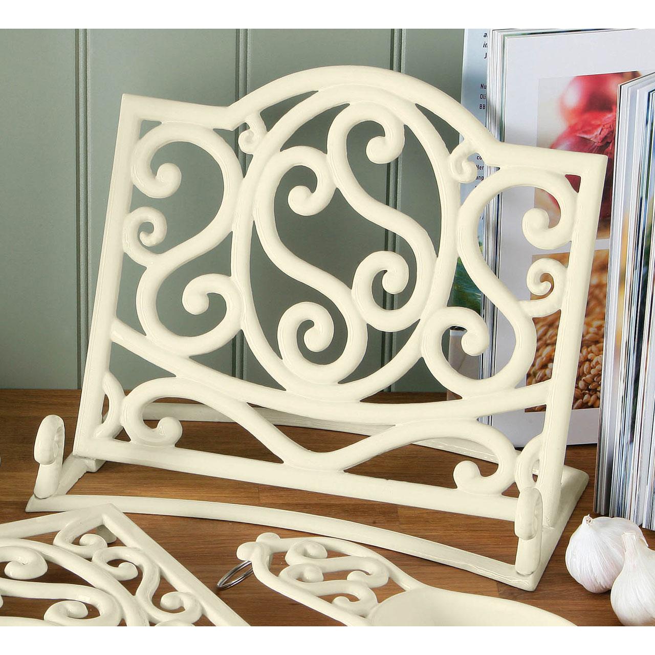 Cream cast iron trivet mug tree kitchen roll holder spoon rest cookbook stand ebay - Cream recipe book stand ...