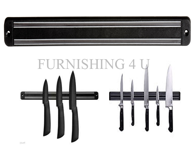 new black wall magnetic kitchen chef knife holder rack utensils tool storage bar ebay. Black Bedroom Furniture Sets. Home Design Ideas