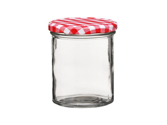 BRAND NEW GLASS JARS WITH RED BLUE GINGHAM