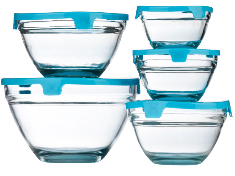 new set of 5 piece glass storage bowl set with lids food containers mixing bowls. Black Bedroom Furniture Sets. Home Design Ideas