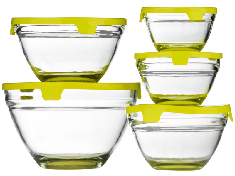 new set of 5 piece glass storage bowl set with lids food containers mixing bowls ebay. Black Bedroom Furniture Sets. Home Design Ideas