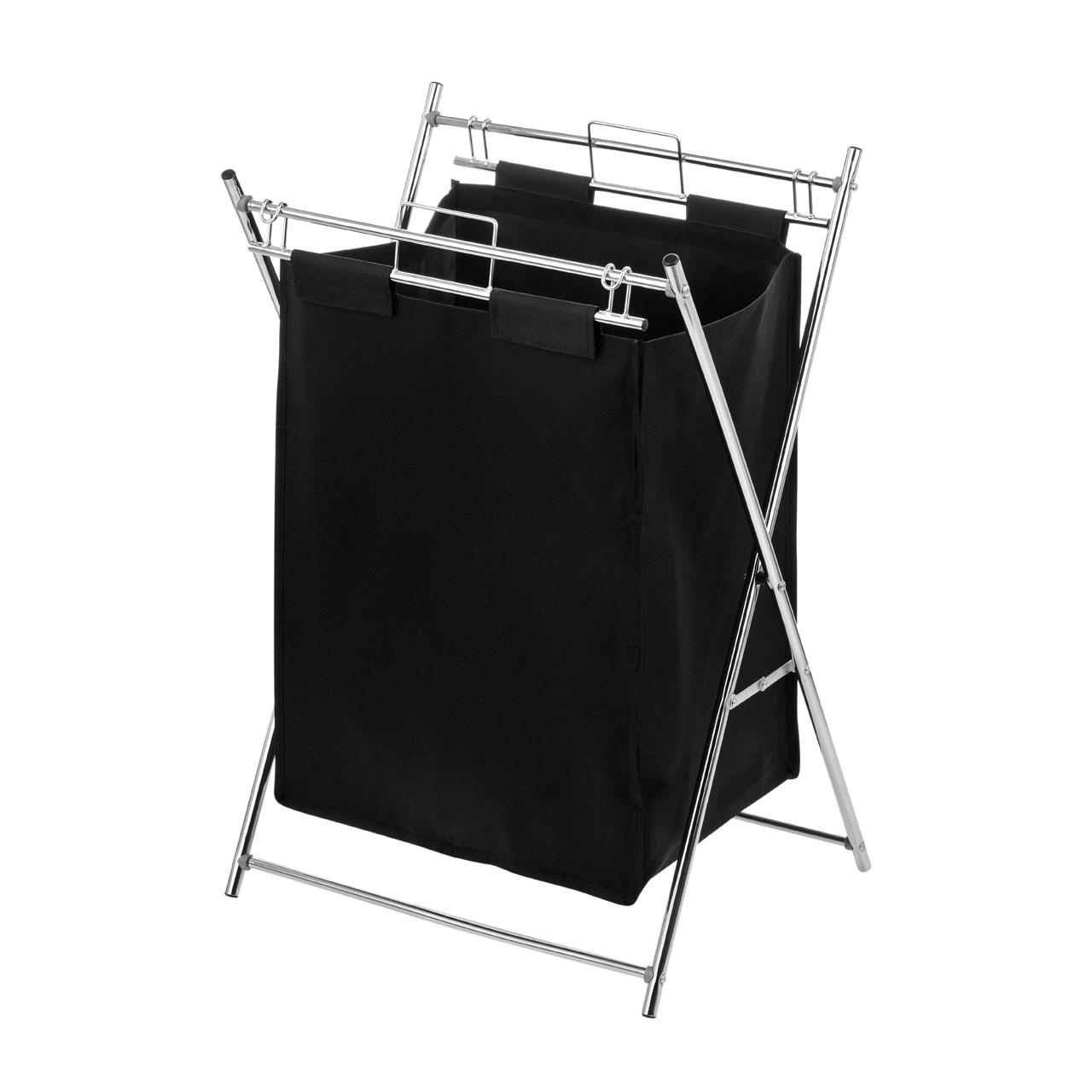 New Laundry Polyester Bag Bin Basket Chrome Frame Black