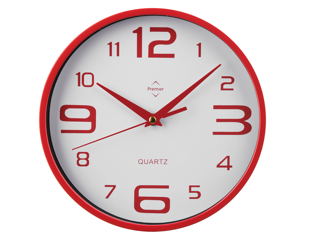 round wall clock with analogue display plastic red cream