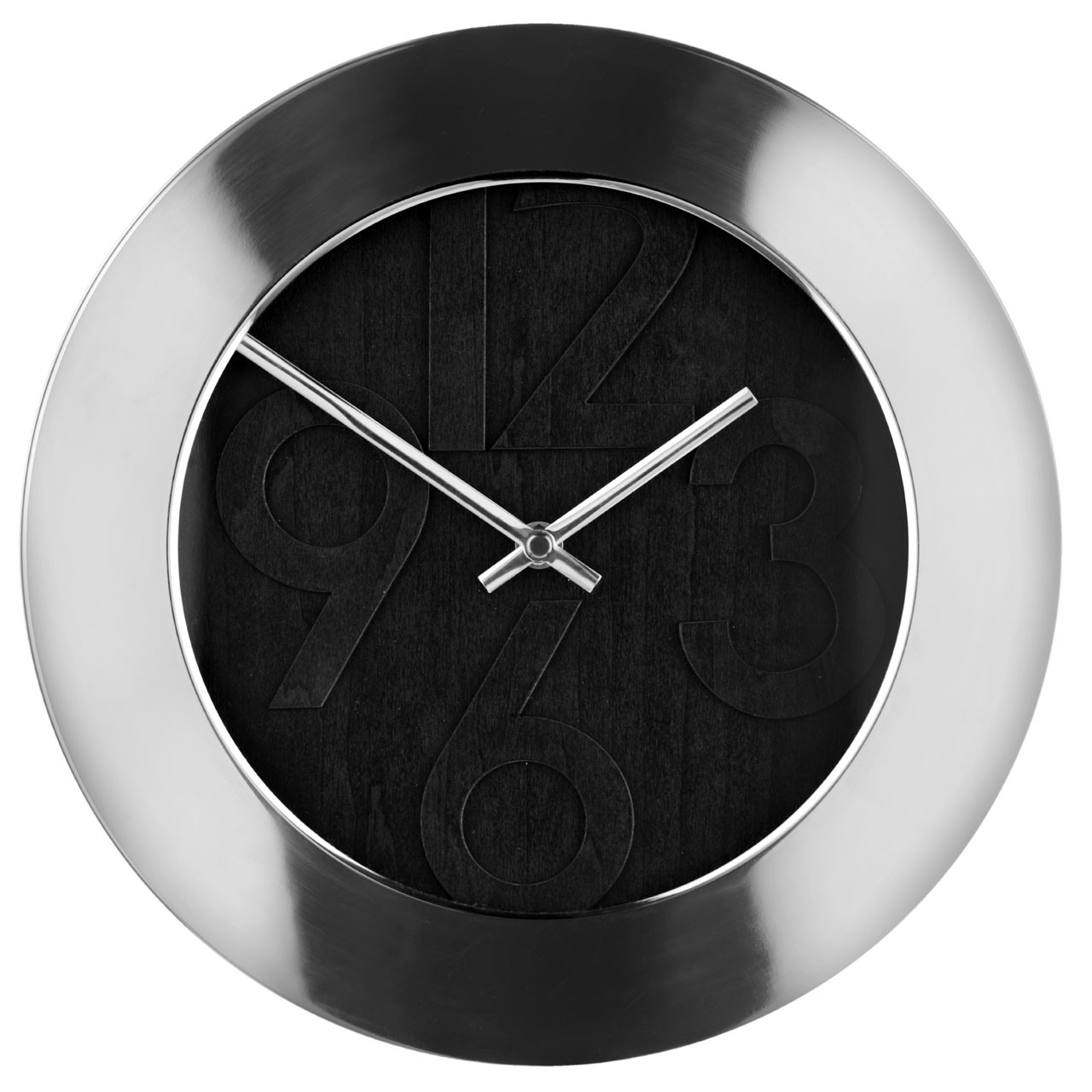 new round black face wall clock with numbers and stainless steel frame analogue ebay. Black Bedroom Furniture Sets. Home Design Ideas
