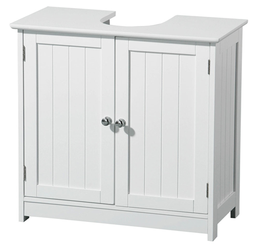 brand new white wood under sink bathroom storage cabinet with chrome