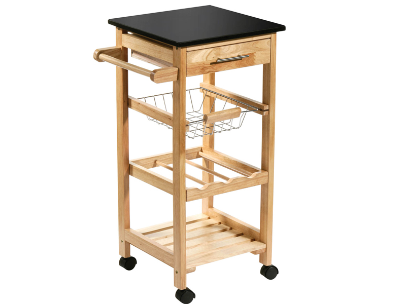 Rubberwood Kitchen Trolley Island Black Granite Worktop Storage Drawers Wheels Ebay