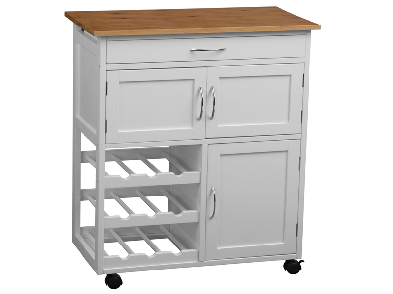 WHITE FRAMED KITCHEN TROLLEY ISLAND BAMBOO WOOD WORKTOP