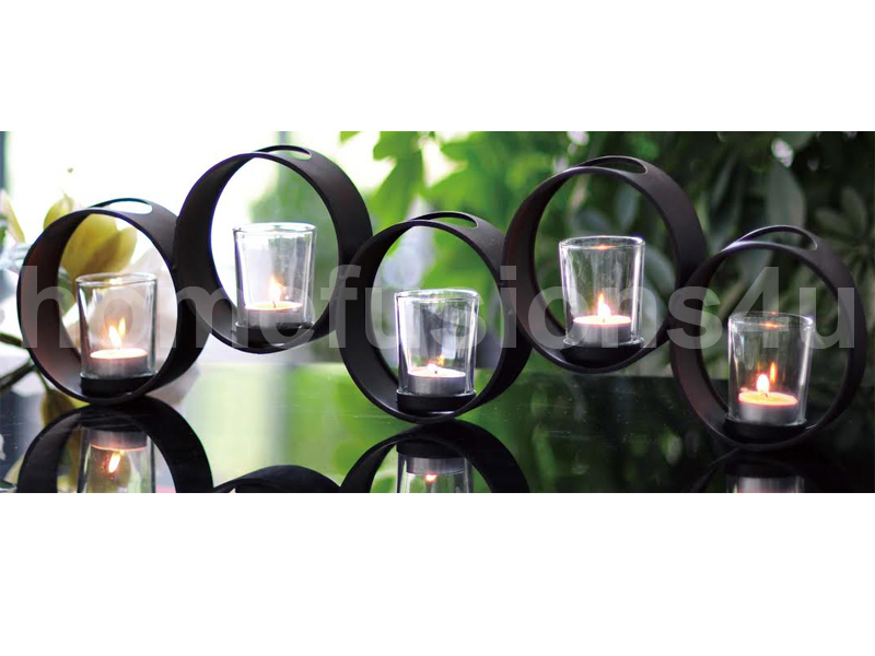BLACK 5PC TEA LIGHT GLASS CANDLE HOLDER METAL STAND TABLE CENTRE / MANTEL PIECE