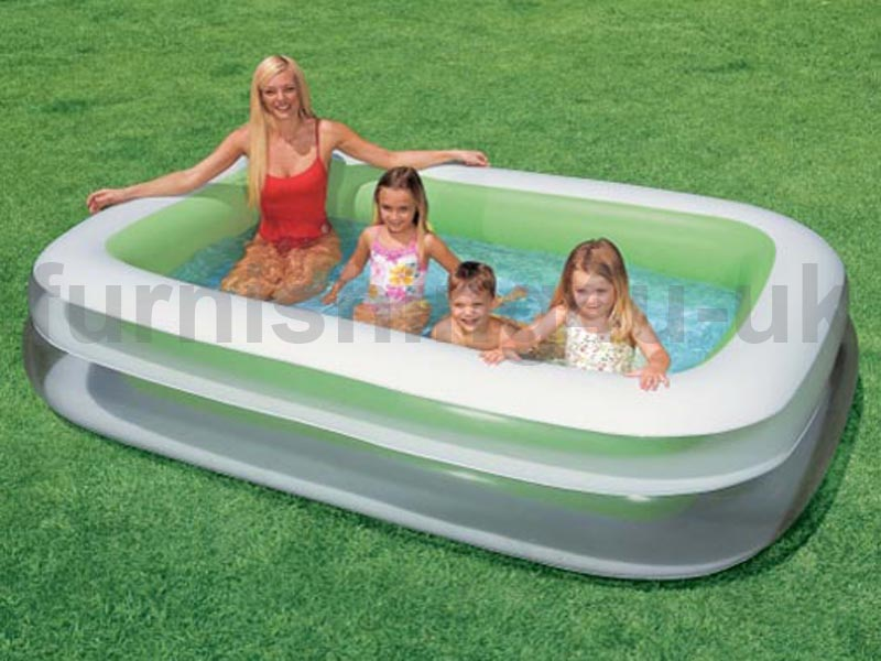 Intex inflatable jumbo deluxe rectangular family paddling for Family paddling pool