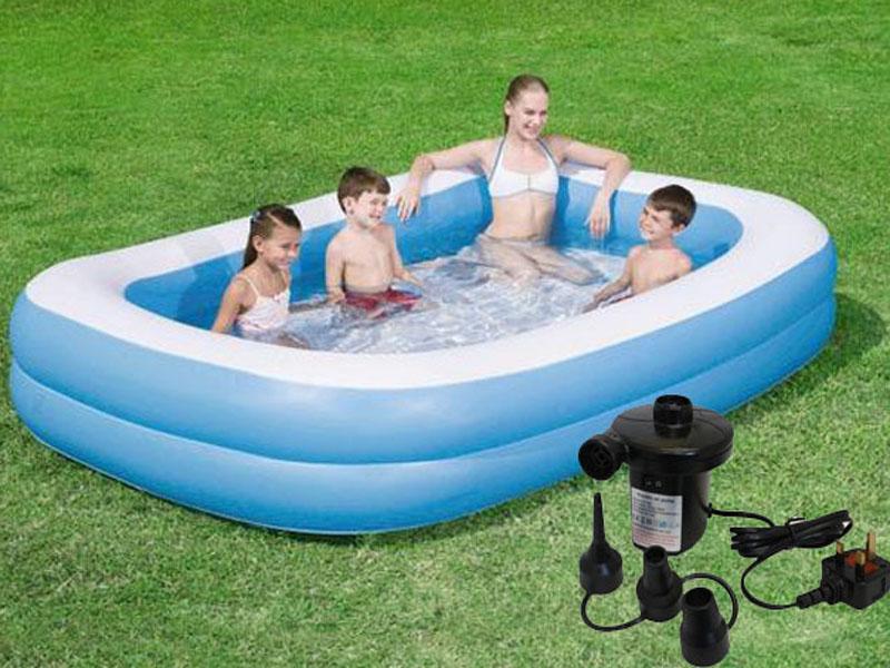 New inflatable rectangular family garden paddling swimming for Paddling pool heater