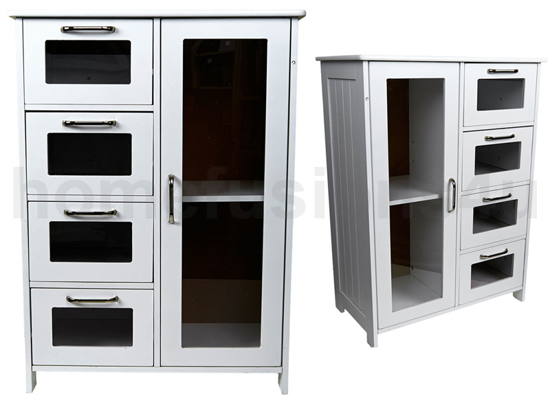 WHITE WOODEN CABINET 4 GLASS DRAWERS & CUPBOARD FLOOR