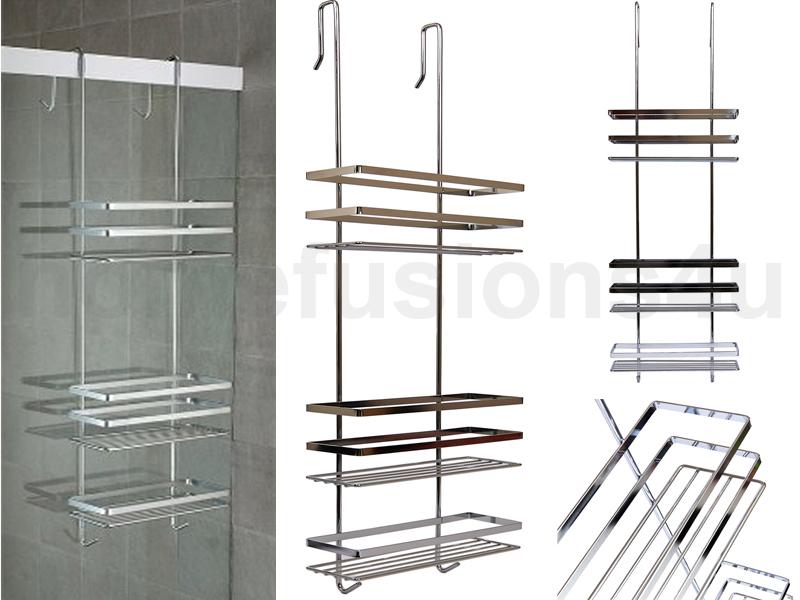 chrome 3 tier hanging over the door organiser shower. Black Bedroom Furniture Sets. Home Design Ideas