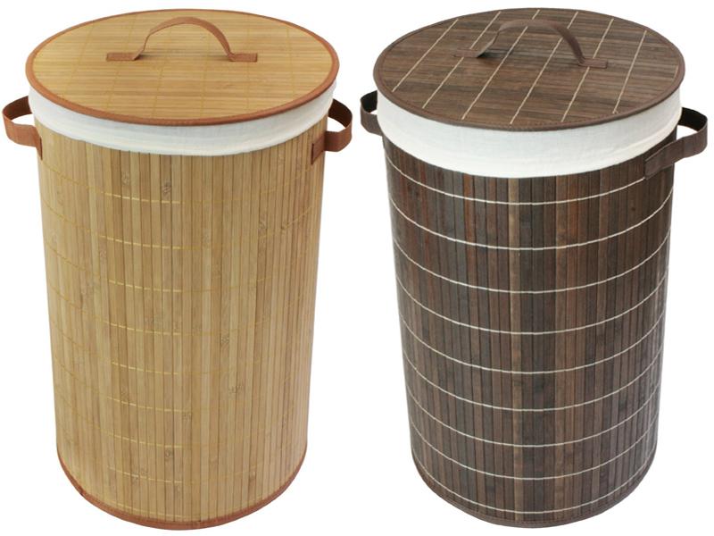 Large Round Bamboo Laundry Basket Foldable Storage Bag