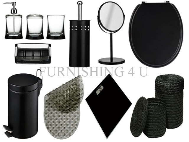 Bathroom Accessories Set With Mirror : Pc black bathroom accessories set bin toilet seat