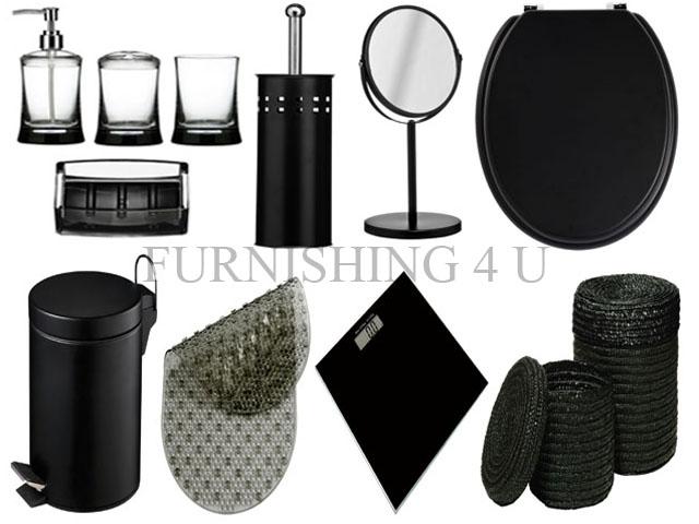 11pc black bathroom accessories set bin toilet seat for Bathroom bin and brush set