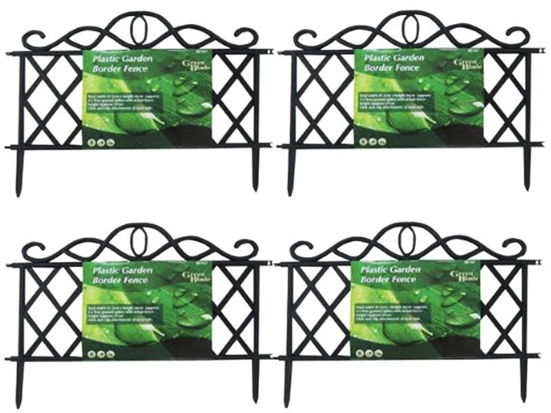5X BLACK PLASTIC GARDEN BORDER FENCE EDGING LATTICE FENCING PATHWAY