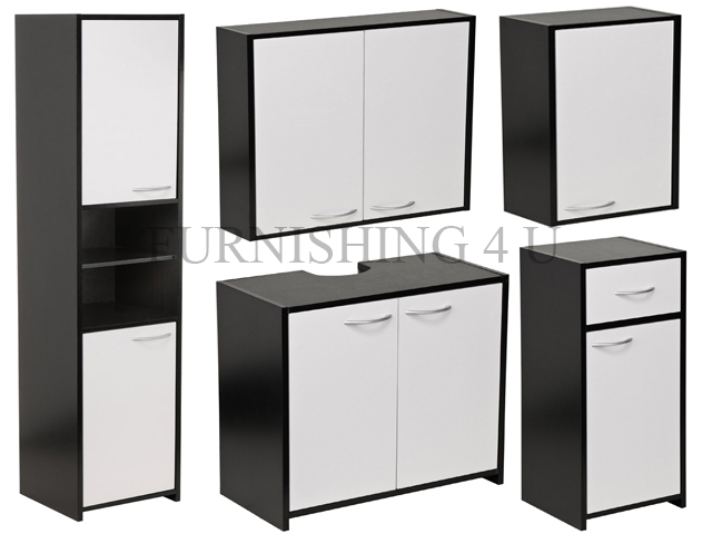 black white bathroom furniture floorstanding under sink wall cabinet
