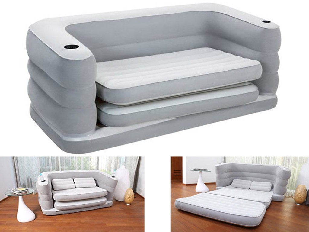 BESTWAY MULTI MAX II INFLATABLE SOFA COUCH DOUBLE AIR BED MATTRESS PILLOWS  CAMP