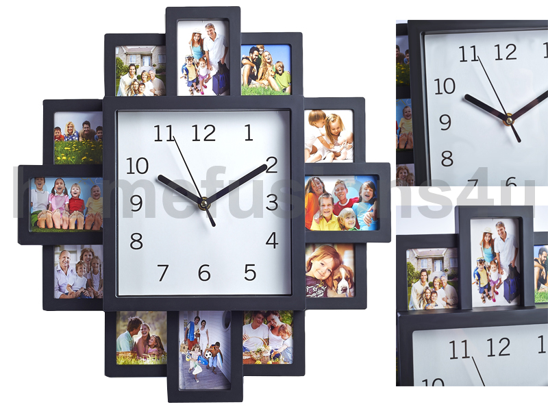 black 12 multi photo picture wall clock aperture frame
