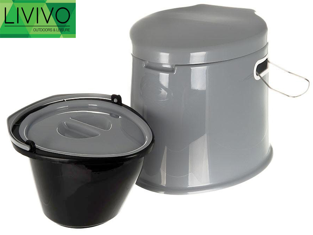 5l grey portable toilet manual compact potty loo camping. Black Bedroom Furniture Sets. Home Design Ideas