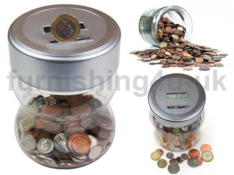 New digital coin counter lcd display saving jar money box counts piggy bank ebay - Coin bank that counts money ...