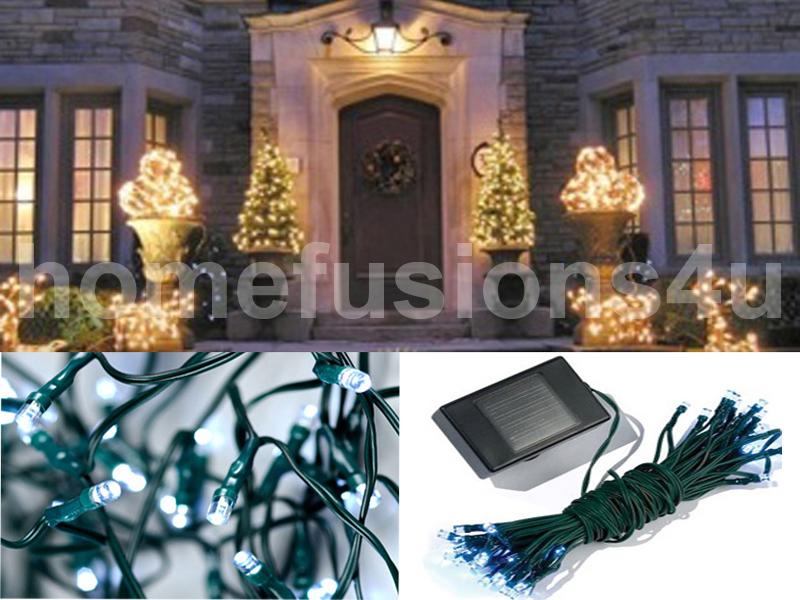 200-500 CHRISTMAS SOLAR LED FAIRY LIGHTS WHITE BRIGHT GARDEN OUTDOOR PARTY XMAS