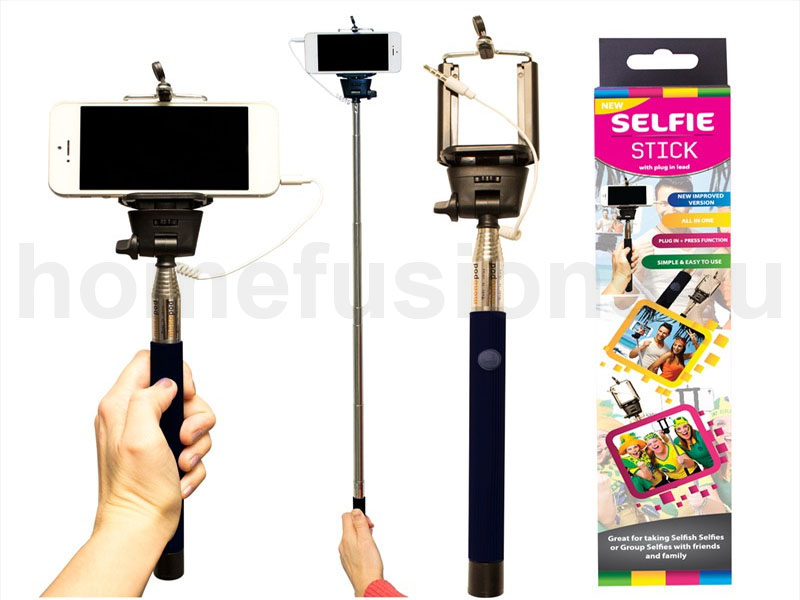 telescopic monopod selfie stick with plug in lead iphone nokia samsung camera ebay. Black Bedroom Furniture Sets. Home Design Ideas