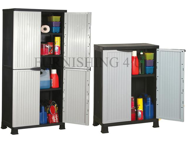 large plastic garden storage unit cabinet chest weatherproof cupboard shed tool ebay. Black Bedroom Furniture Sets. Home Design Ideas