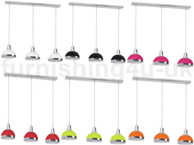3 BAR PENDANT LIGHT HANGING CHROME EFFECT 3 WAY MOUNTED