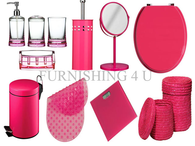 11PC HOT PINK BATHROOM ACCESSORIES SET BIN TOILET SEAT BRUSH MIRROR SCAL