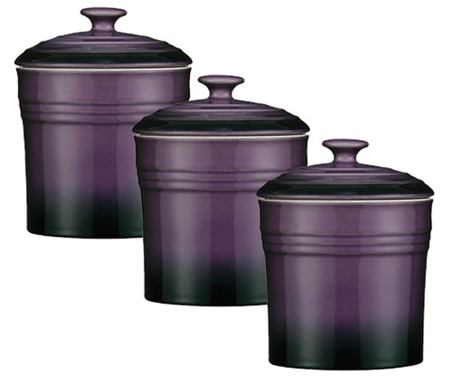 purple set of 3 storage canisters tea coffee sugar jars tea coffee sugar jar canister 3pc set plastic pot storage