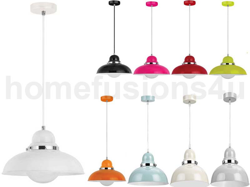 NEW HANGING PENDANT LIGHT WITH SHADE CHROME EFFECT CEILING