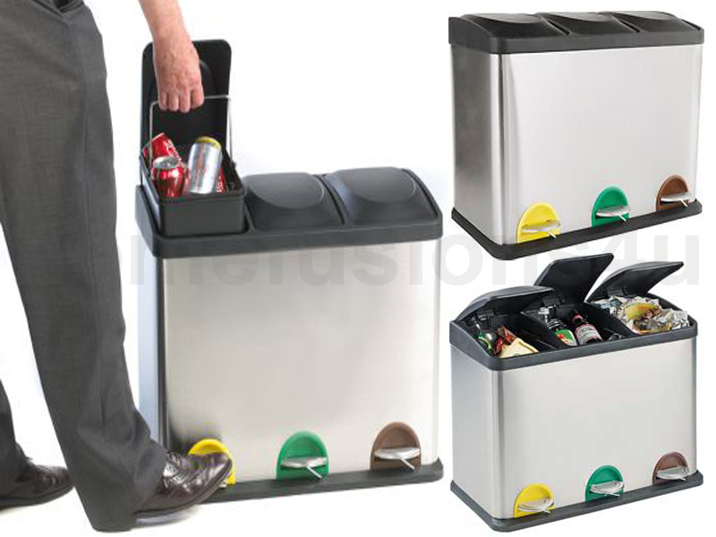 60l litre s steel 3 compartment recycling bin pedal waste trash rubbish recycle ebay - Recycle containers for home use ...