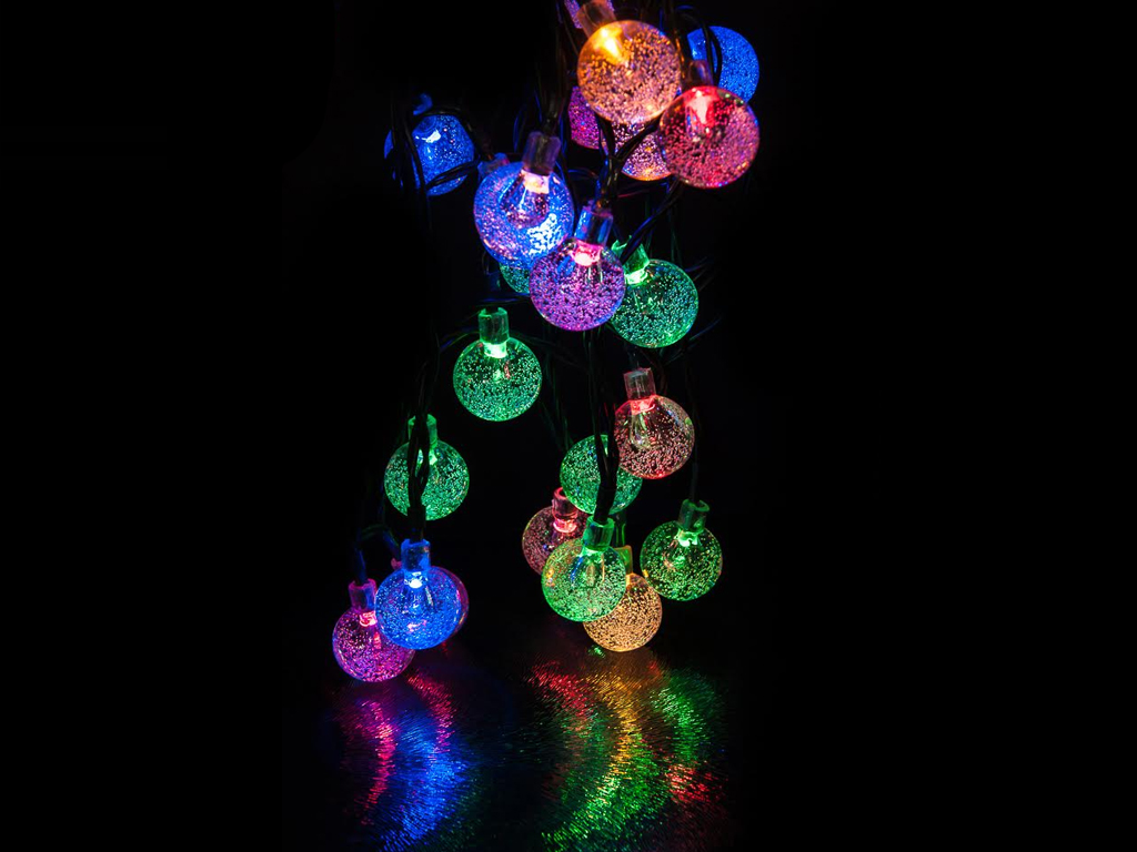 Solar Globe String Lights Outdoor : LIVIVO 35 LED GLOBE BALL SOLAR STRING LIGHTS CRYSTAL INDOOR OUTDOOR GARDEN