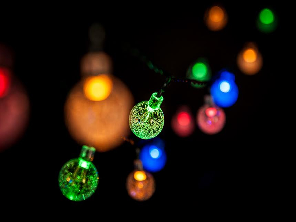 Globe String Lights Indoor : LIVIVO 35 LED GLOBE BALL SOLAR STRING LIGHTS CRYSTAL INDOOR OUTDOOR GARDEN