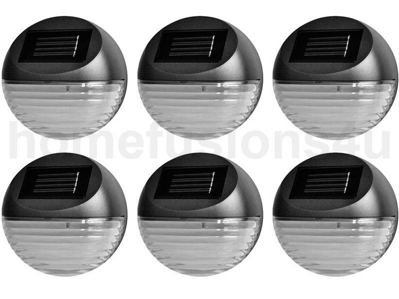 ROUND SOLAR POWER LED GARDEN FENCE LIGHTS WALL PATIO DECKING OUTDOOR LIGHTING eBay