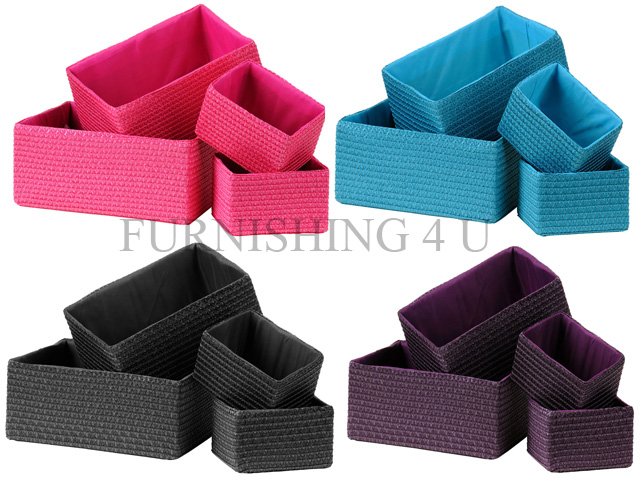Exceptionnel Image Is Loading NEW SET OF 4 STRAW STORAGE SQUARE BASKETS