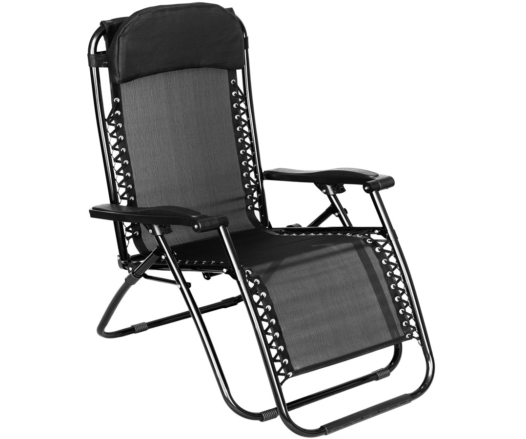Folding Gravity Sun Lounger Chair Recliner Garden Sun Deck